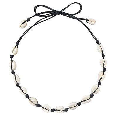 798f75f5da5db CUSVUEVI Women's Natural Shell Choker Necklace, Handmade Cowrie Shell Boho  Beach Jewelry