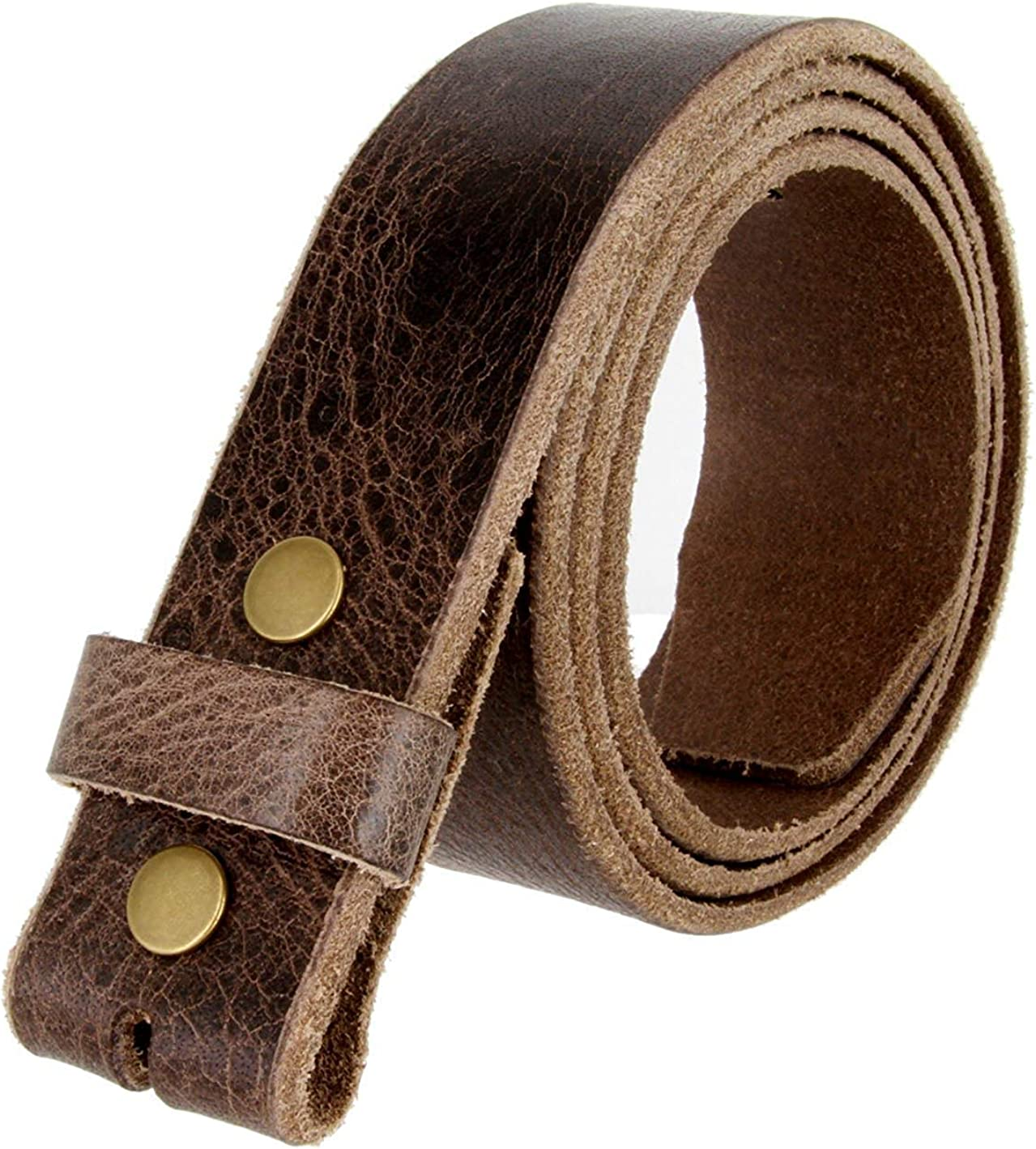 Hagora Men 1-1//2 Wide Genuine Full Grain Retro Buffalo Leather Snap Belt Strap