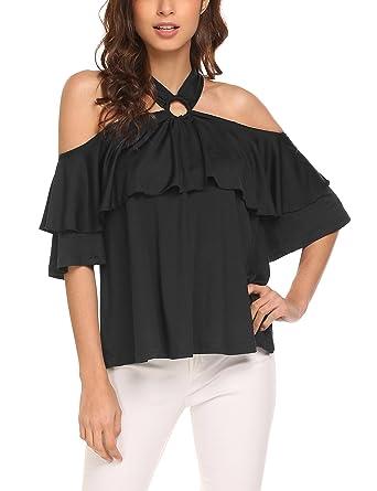 f5f39d7fd7eec Dealwell Women s Casual Halter Neck Off Shoulder Ruffles Loose Fit Blouse  Shirt Black Small