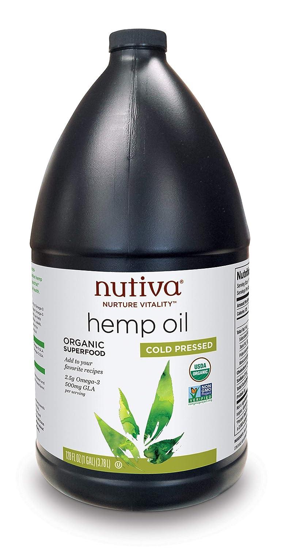 Nutiva Organic, Cold-Pressed, Unrefined Hemp Seed Oil from non-GMO, Sustainably Farmed Canadian Hemp, 1 Gallon