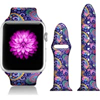 FTFCASE Sport Bands Compatible with iWatch 42mm/44mm Floral Totem - Blue Cashew, Flower Printed Soft Silicone Strap Replacement for iWatch 42mm/44mm Series 4/3/2/1 Women Men