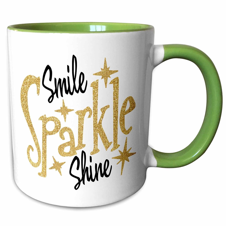 3drose Sven Herkenrath引用符 – Smile Sparkle Shineテキストwith Stars inブラックandホワイトにゴールド色背景 – マグカップ 11-oz Two-Tone Green Mug mug_255866_7 B079K85981  11-oz Two-Tone Green Mug