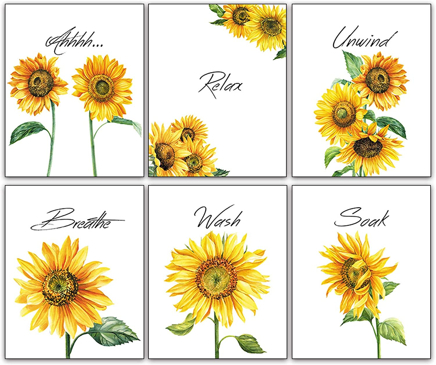 """Modern Art Scenery Sunflower Flowers Wall Poster Art Prints Set of 6 (8""""X10"""" Canvas Picture) Bathroom Kitchen Living Room Spa Room Art Painting Home Decor Unframed"""