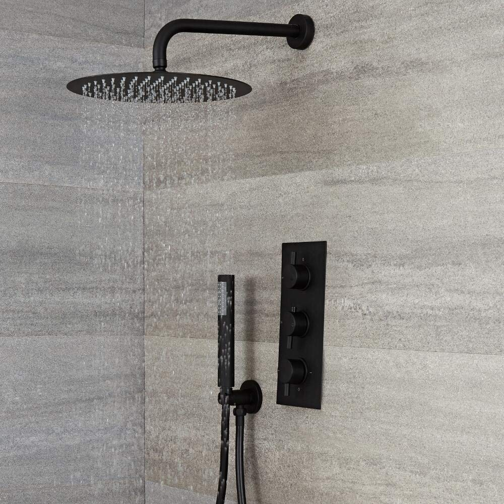 Triple Concealed Valve with 300mm Round Fixed Head and Hand Shower Black Milano Shower System Nero