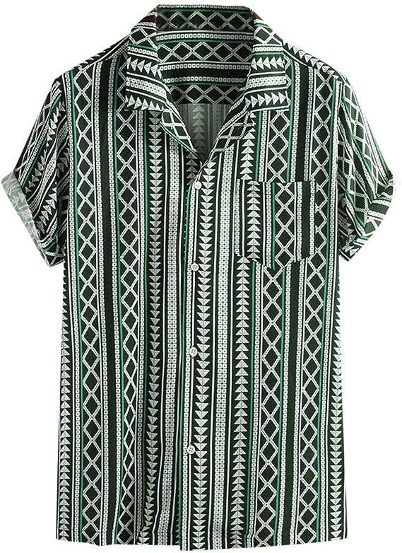 CAOQAO Camisas Hombre Manga Corta Hawaiana Camisa El Verano Estilo Nacional Transpirable Ropa de Hombre: Amazon.es: Ropa y accesorios