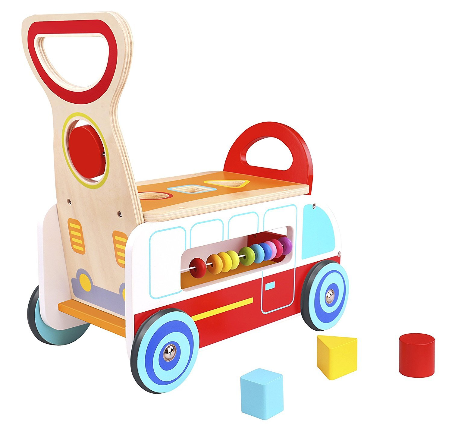 Pidoko Kids Wooden Ride On Multi Functional Baby Wagon - Wooden Push and Pull Peddle Scoot Balance Bike Walker Cart Toy for Boys & Girls, Toddlers age 18 months and up