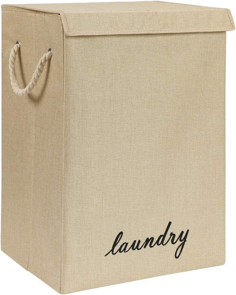 COUNER Laundry Hampers with Lids, Large Laundry Baskets with Handles Foldable Hampers for Laundry Easily Storage, Transport for Bedroom, Bathroom, Living Room, College Dorm, (Kahaki)