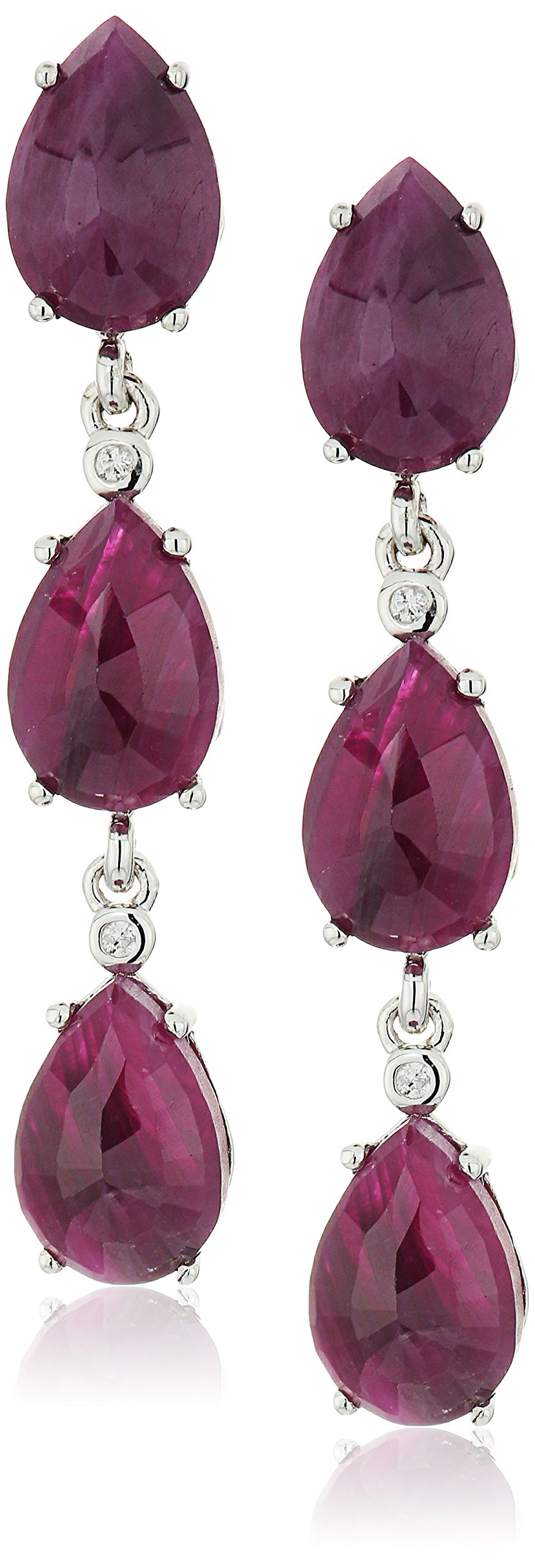 Sterling Silver Opaque Ruby And Natural White Zircon Dangle Earrings