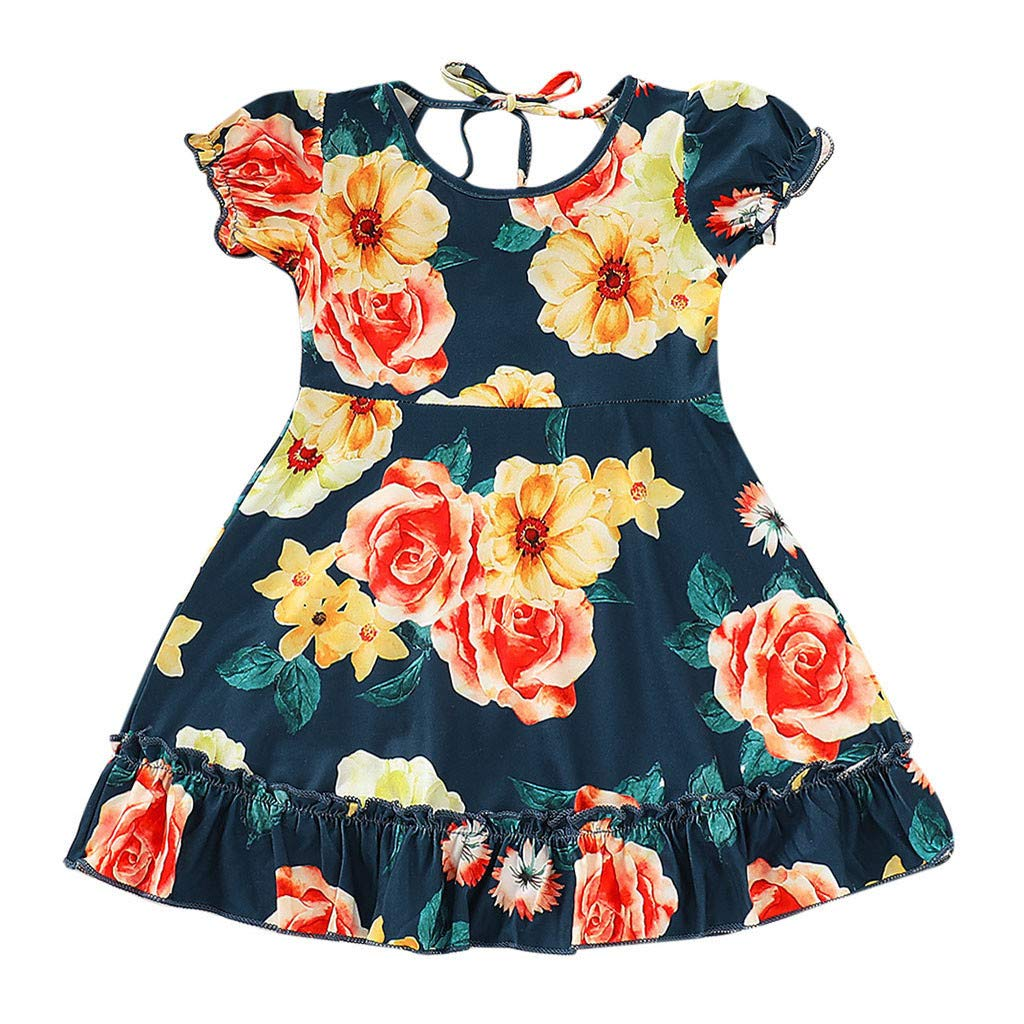 Baby Kids Girls Fly Sleeve Ruched Floral Flowers Print Summer Princess Dresses