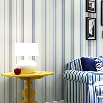 Meili Papel Pintado Autoadhesivo Rayas Verticales Azules Papel - Pintar-paredes-a-rayas-verticales