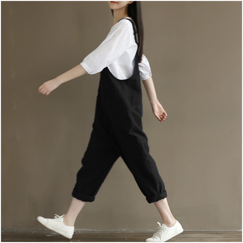 db6ca986f16 Lncropo Women Large Plus Size Baggy Linen Overalls Casual Wide Leg Pants  Sleeveless Rompers Jumpsuit Vintage Haren Overalls(Black