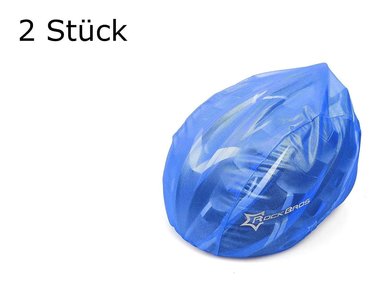 Lot de 2Casque Housse en bleu pour casque de vélo–Protection contre la pluie, Vent, le soleil | Logo réfléchissant pour la sécurité | étanche Housse de pluie | Bleu Casque de protection cordon de serrage réglable (2pièces) rockbros