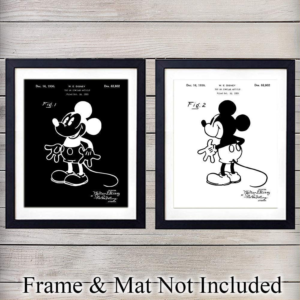 Original Mickey Mouse Patent Prints Set - Vintage Mickey Mouse Wall Decor - Unique Gift for Disney World Fans - Decorations for Boys, Girls, Kids Room or Nursery - 8x10 UNFRAMED Wall Art Posters