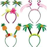 4 Pieces Hawaiian Party Head Boppers Set includes Palm Tree Head Bopper, Flamingo Party Glitter Head Bopper, Pineapple…