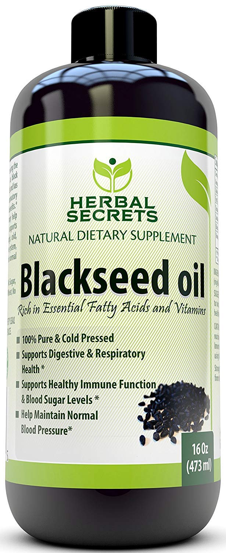 Herbal Secrets Black Seed Oil Natural Dietary Supplement - Cold Pressed Black Cumin Seed Oil from 100% Genuine Nigella Sativa Oz bottle (16)