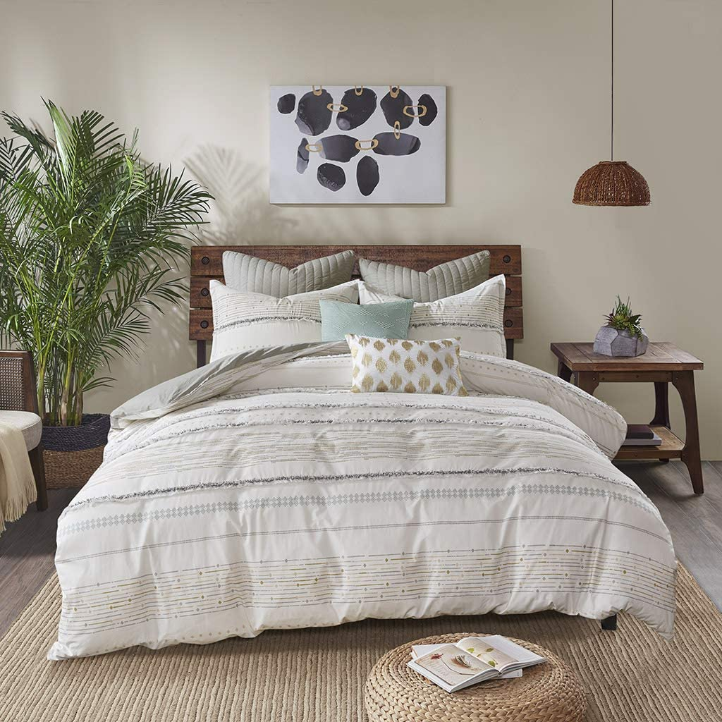 Ink+Ivy NEA Cotton Printed Comforter Set with Trims, Full/Queen, Multi