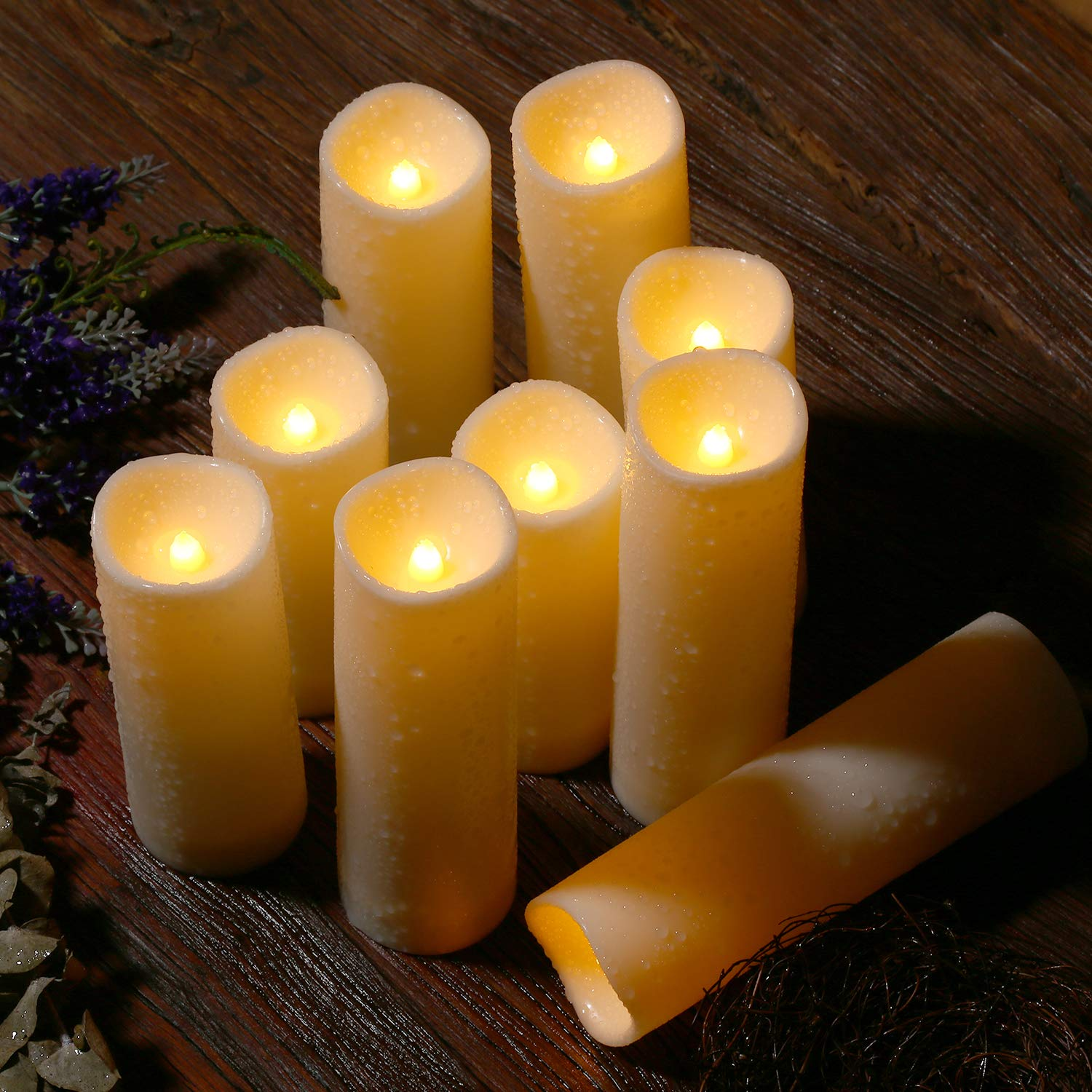 Flameless Candles, Waterproof Outdoor Candles set of 9 ( D 2.2'' X H 5''5''6''6''6''7''7''7''7'' ) LED Candles Battery Operated Candles with Remote Timer, Ivory White by Enido (Image #8)