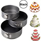 Orpio Set of 3 Round Aluminium Non-Stick Backing Cake Moulds Pan Can be used in Microwave Ovens (Black)