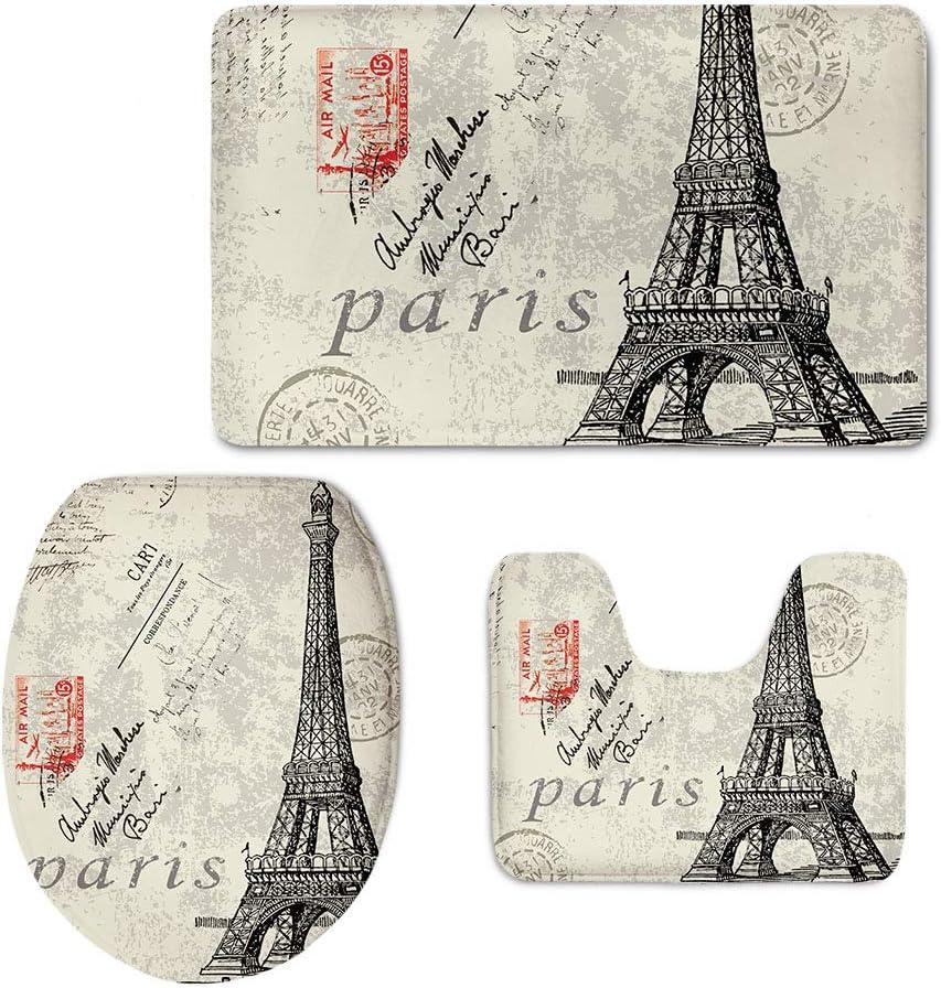 Coloranimal Vintage Paris Eiffel Tower Printed Home Bathroom Accessories Set, 3 Piece Bath Mat + Lid Toilet Seat Cover+ Flannel Carpets, Machine Washable