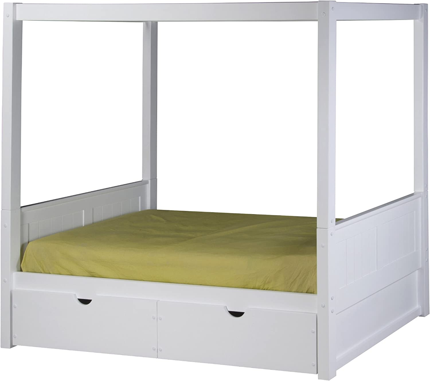 - Camaflexi Panel Style Solid Wood Canopy Bed With Drawers, Twin