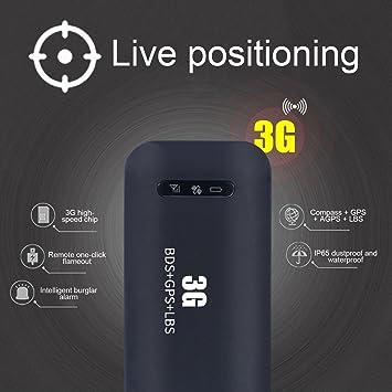 WiFi 3G WCDMA - Localizador de rastreo GPS para Coche (Color Negro)