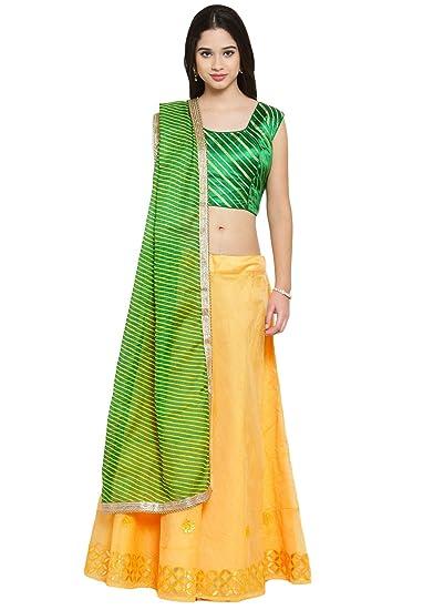 904d662c3d Salwar Studio Women's Dark Green & Yellow Chanderi silk readymade Free size Lehenga  Choli with Dupatta(OM-0036393_Free Size_Dark Green & Yellow): Amazon.in: ...