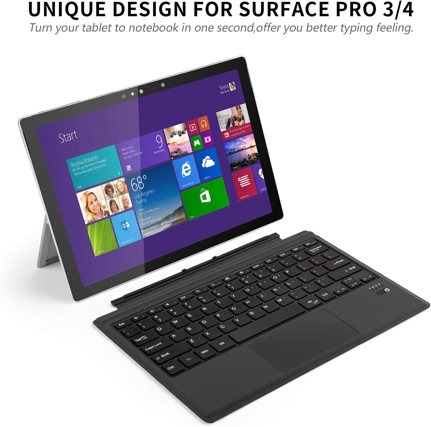 ACHICOO Tablet Bluetooth Wireless Magnetic Ergonomic Keyboard for Microsoft sur//face pro3//4//5 Sucker Screen