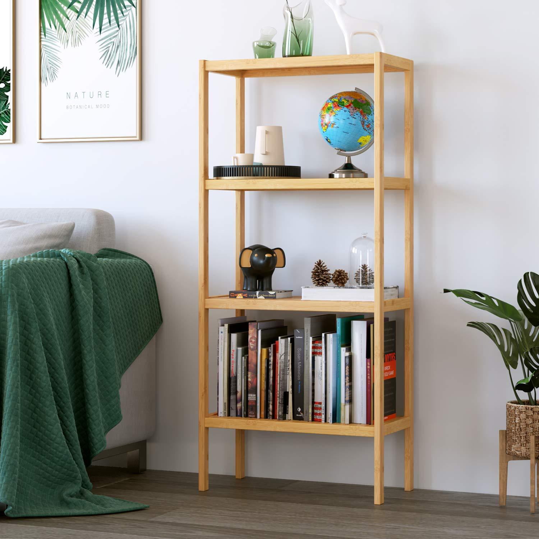 Homfa Standregal aus Bambus Badezimmerregal mit 4 Ablagen Badregal Küchenregal Balkonregal Blumenregal Bücherregal für Wohnzimmer Bad Küche 52.7x26x115cm