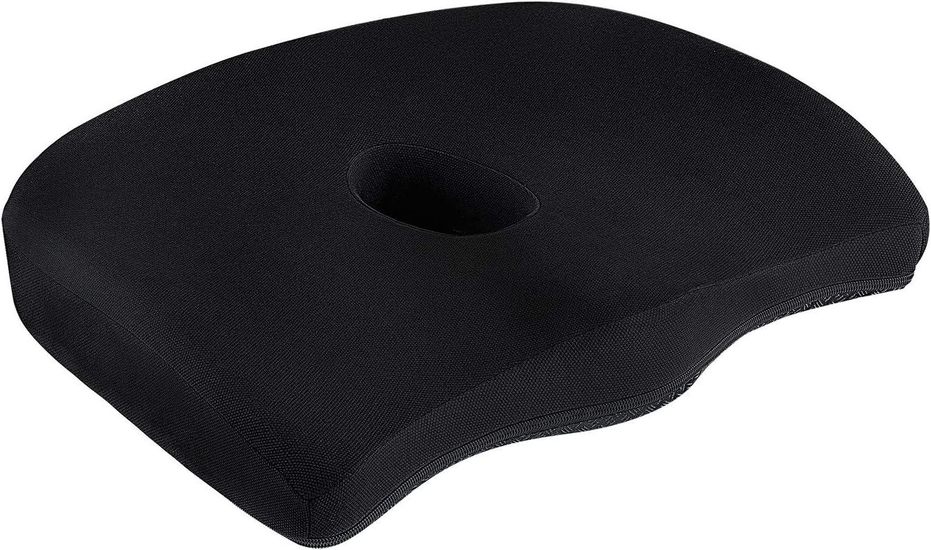 Premium Comfort Seat Cushion Non-Slip Orthopedic Memory Foam Coccyx Cushion for Tailbone Pain Cushion for Office Chair Car Seat Back Pain Sciatica Relief (Dark Blue)