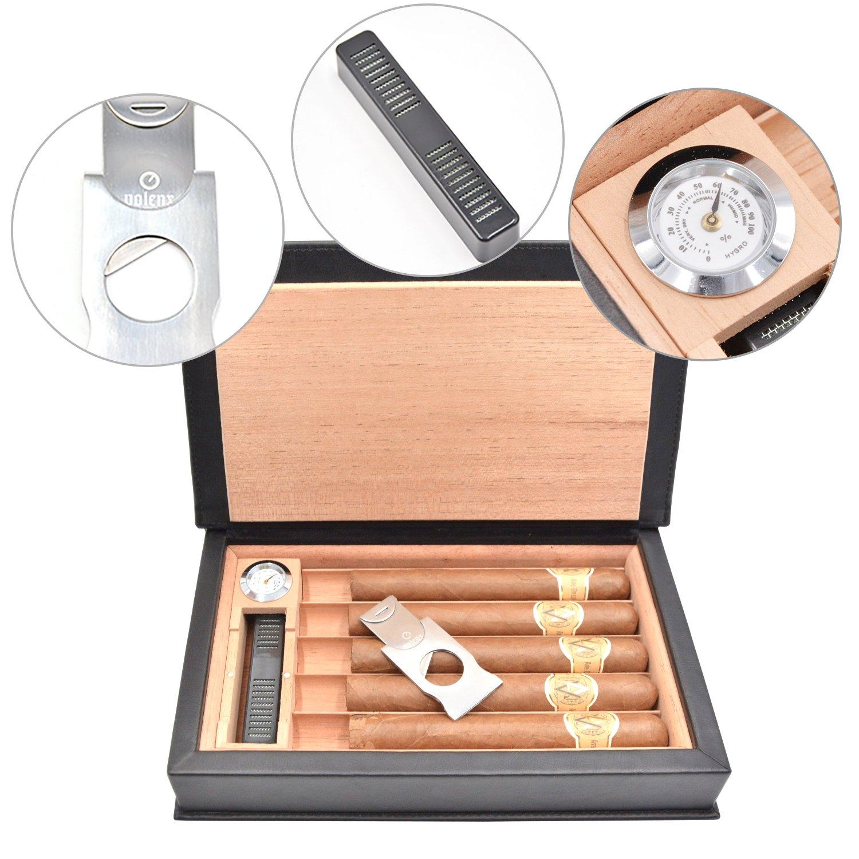 Volenx Cedar - Caja para cigarrillos (madera, con cortador de cigarrillos e higrómetro, con capacidad para 5 cigarrillos), negro: Amazon.es: Hogar