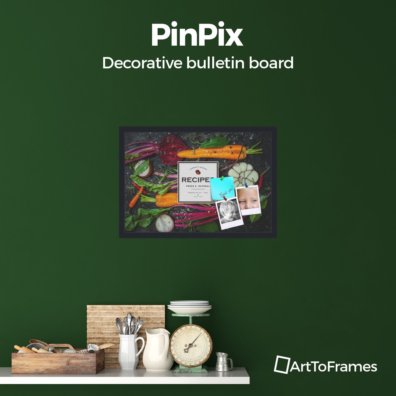 PinPix decorative pin cork bulletin board made from canvas, Recipe Board with Root Vegetables 24x16 Inches (Completed Size) and framed in Satin Black (PinPix-Group-36) ArtToFrames PinPix-1361-24x16_FRBW26079