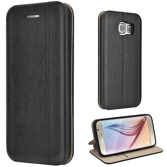 Leaum Galaxy S6 Hülle Handyhülle Leder Tasche Flip Case für Samsung Galaxy S6 Schutzhülle (Schwarz)