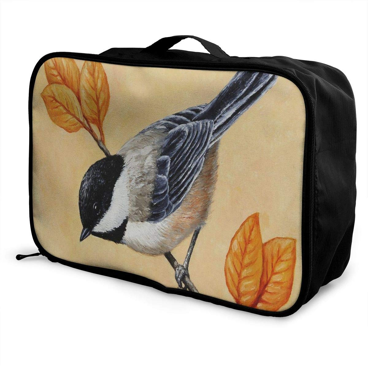 Lightweight Large Capacity Portable Luggage Bag Chickadee And Autumn Leaves Painting Travel Waterproof Foldable Storage Carry Tote Bag