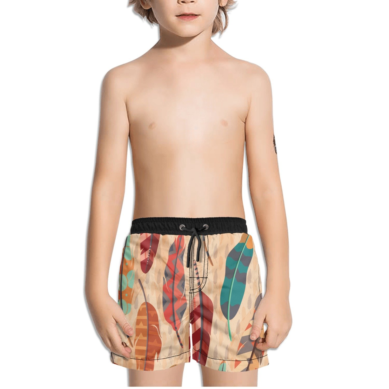 FullBo Feather Boho Pattern Little Boys Short Swim Trunks Quick Dry Beach Shorts