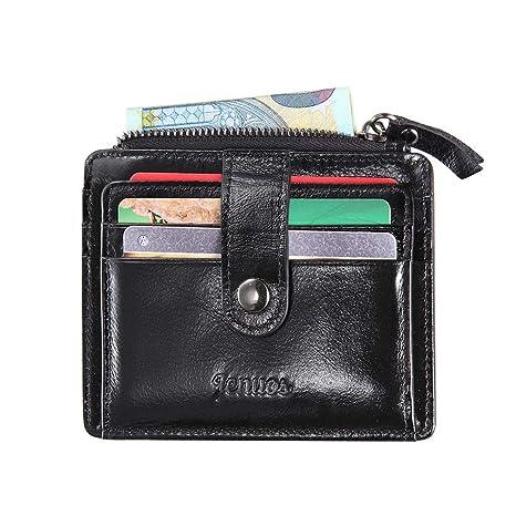 ed415ddc8b Porta Carte di Credito Uomo, Jenuos piccolo sottile Portafoglio Vintage in  Vera Pelle con Blocca
