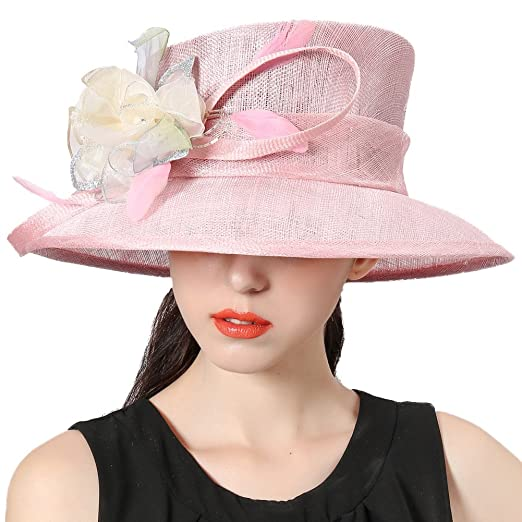 d7b45ecea5233a June's Young Women Hats Flapper Sinamay Floral Church Hat Light Purple at Amazon  Women's Clothing store: