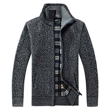 GKKXUE Chaqueta de Cuello Alto para Hombre Chaqueta de Suéter Juvenil  Informal (Color   Gris Oscuro ecc50c2f7a28