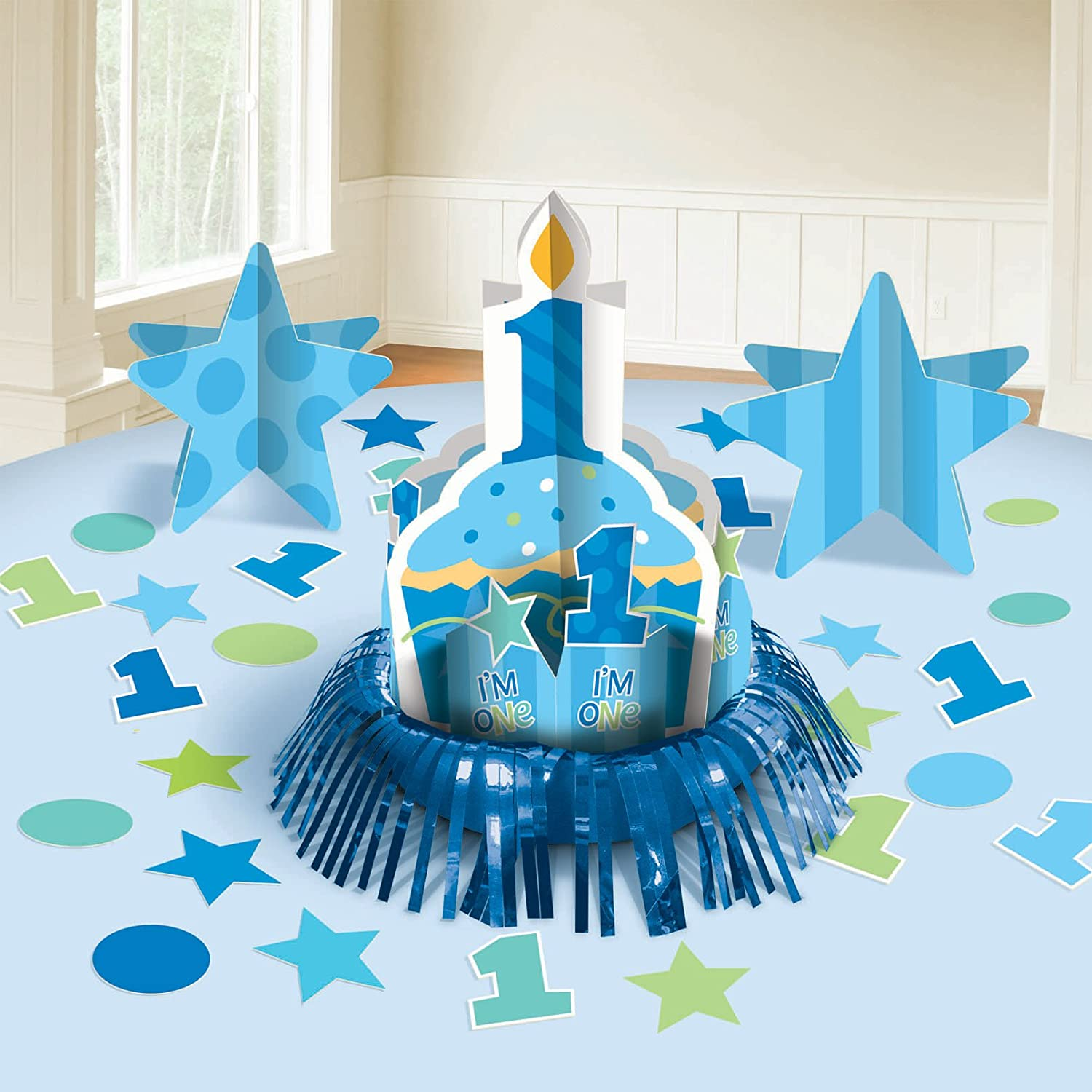 Amazoncom Amscan First Birthday Boy Table Decorating Kit Toys