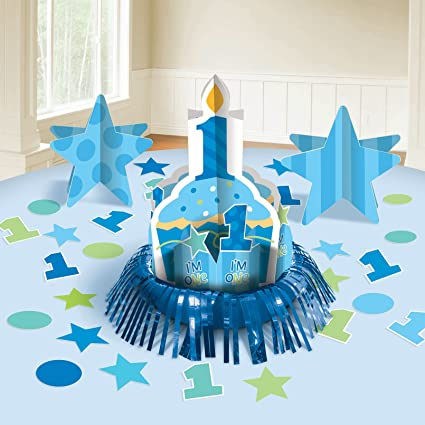 Amazon Com Amscan Cupcake 1st Birthday Boy Table Decorating Kit