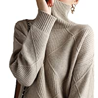 Zzalo Women Turtleneck Sweater Pure Color Knitted Turtleneck Pullover Loose Large Size Sweater Women Pullover (Color…