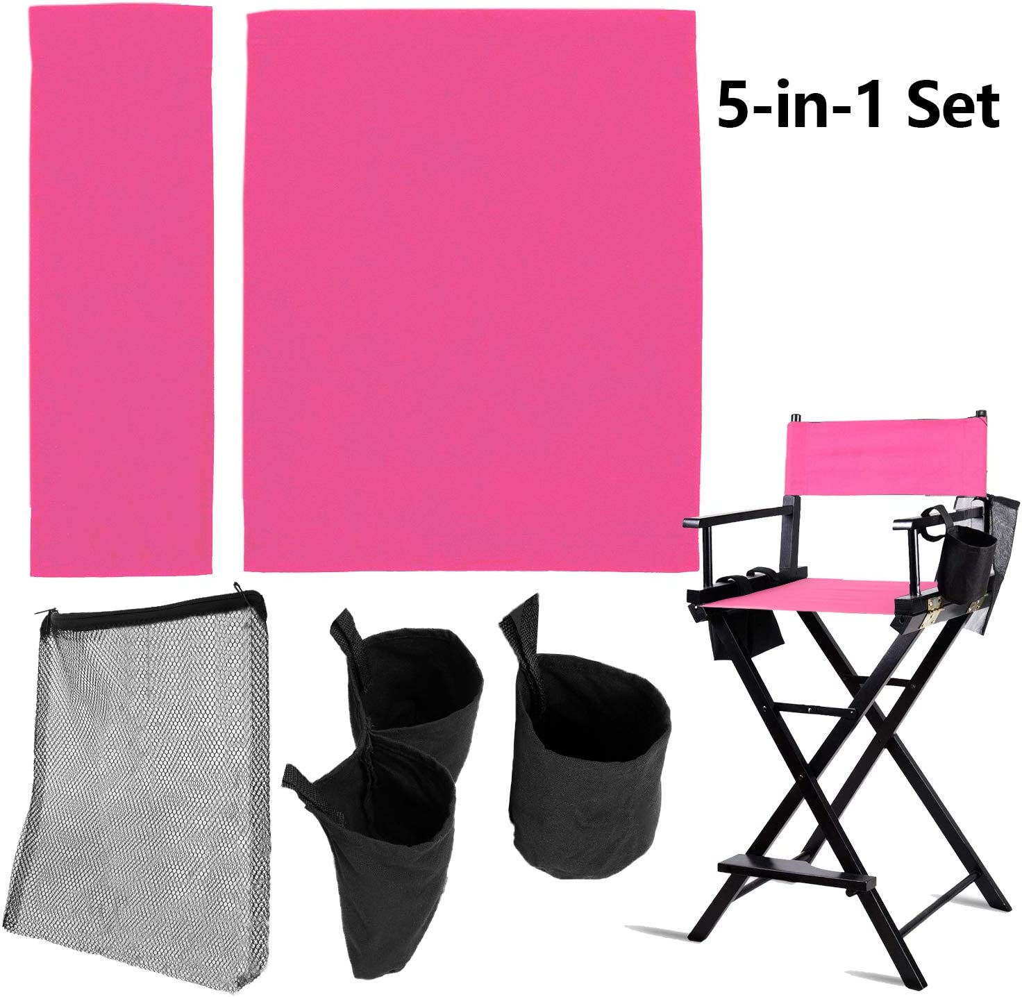 STAY GENT 5 in 1 Accessories Set for Makeup Artist Chair, (not Including Chair) Deep Pink Chair Replacement Cover Canvas, 2 Portable Side Storage Bags and Hanging Mesh Bag