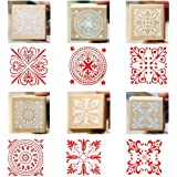Wood Rubber Stamps, 6 Pcs Square Lace Pattern Stamps 1.6""