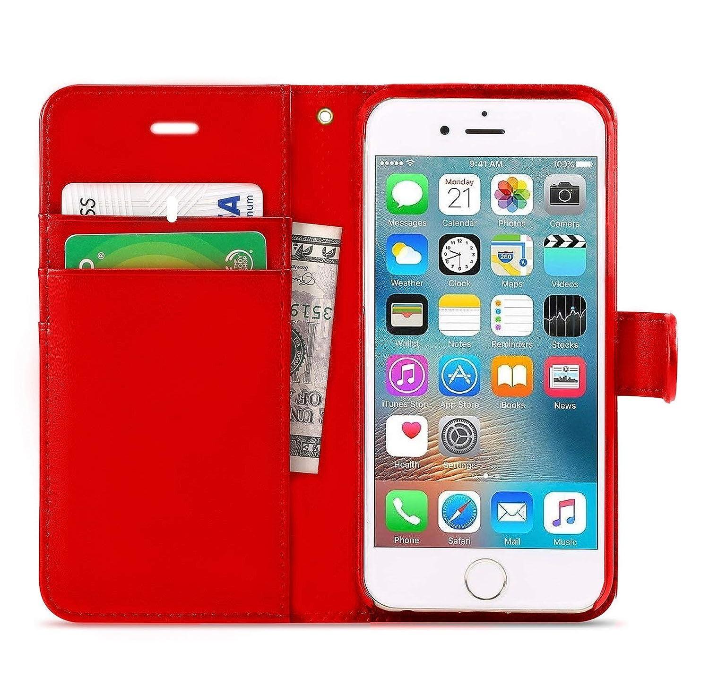 iPhone 6/6s Coque, Dn-alive Portefeuille Coque, Coque portefeuille PU Cuir de qualité [Noir] [carte support] iPhone 6/6s Coque–ID support [résistance aux chutes] [anti-rayures] [résistant aux chocs] Coque pour iPhone 6