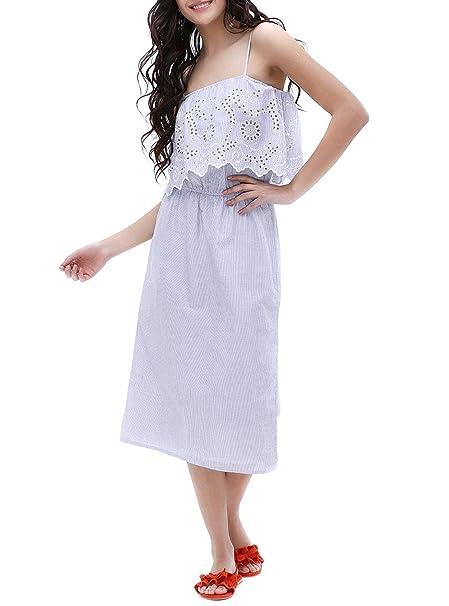 Only Vestido rayas bordado inglés Yrsah 34 azul
