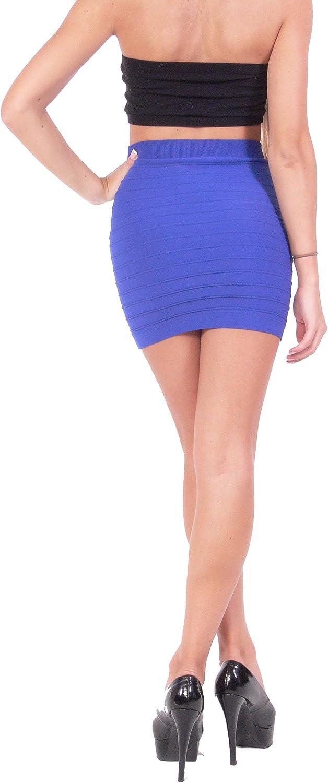 Hollywood Star moda donna benda stile mini gonna in maglia stretch Fabric