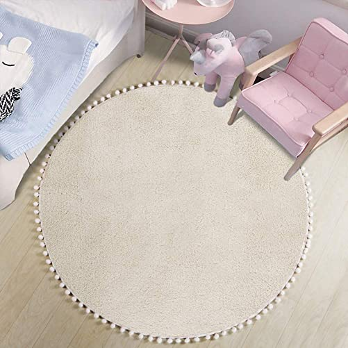 LEEVAN Faux Wool Round Rug Shaggy Nursery Rug Cute Pom Pom Fringe Baby Crawling Mat Kids Play Non-Slip Floor Carpet for Living Room Bedroom Sofa Teepee Tent Decor, 4ft-Beige