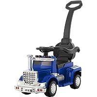 UEnjoy Kinderauto 6V Rutschauto Deluxe Rutschfarzeug mit Schiebestange,Fuβpedal, Musik, LED Leuchten, Abnehmbarer Griff, Geländer für 1-4 Jahre Kinder,Blau