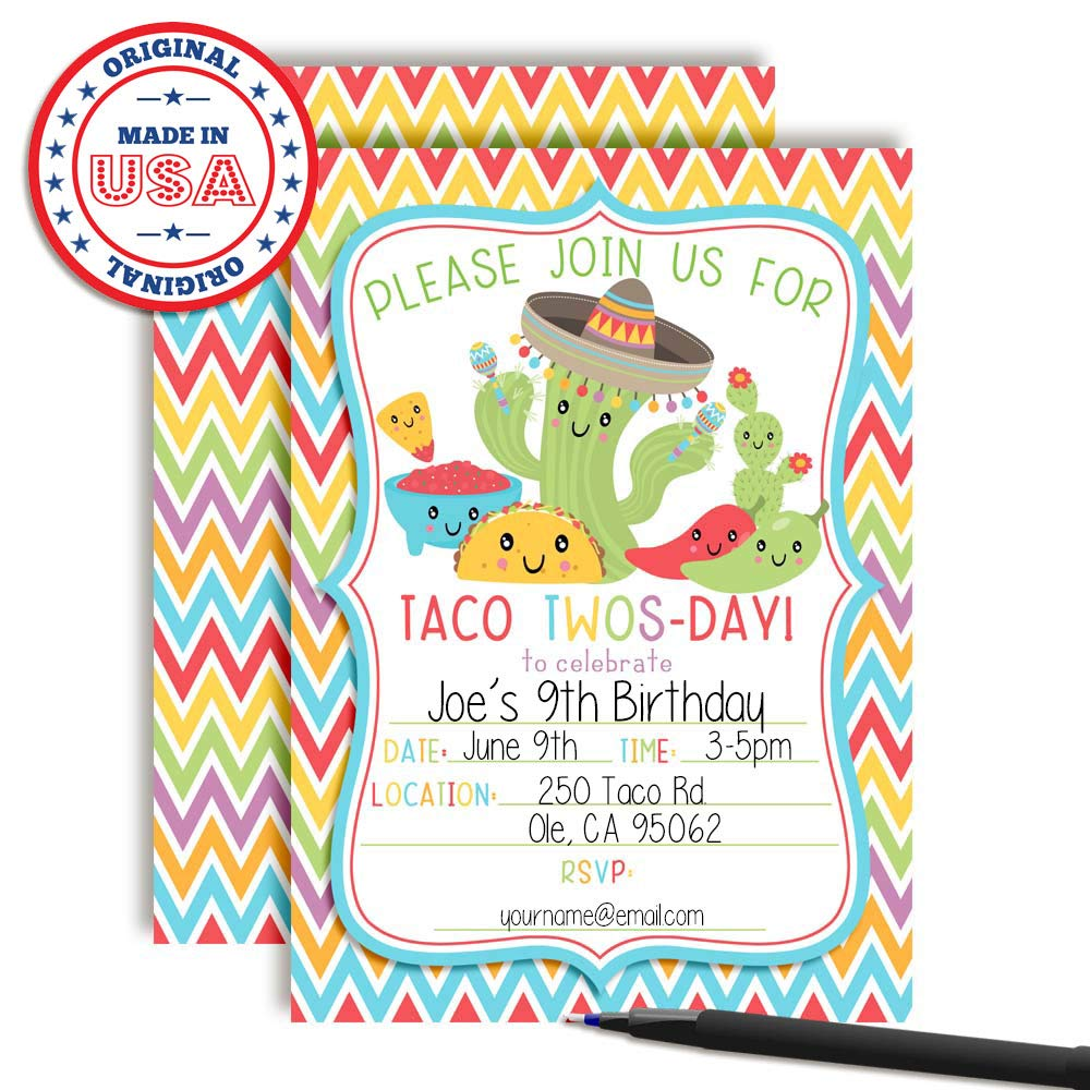 Amazon Taco TWOS Day Adorable 2nd Birthday Fiesta Party Invitations 20 5x7 Fill In Cards With Twenty White Envelopes By AmandaCreation Toys Games