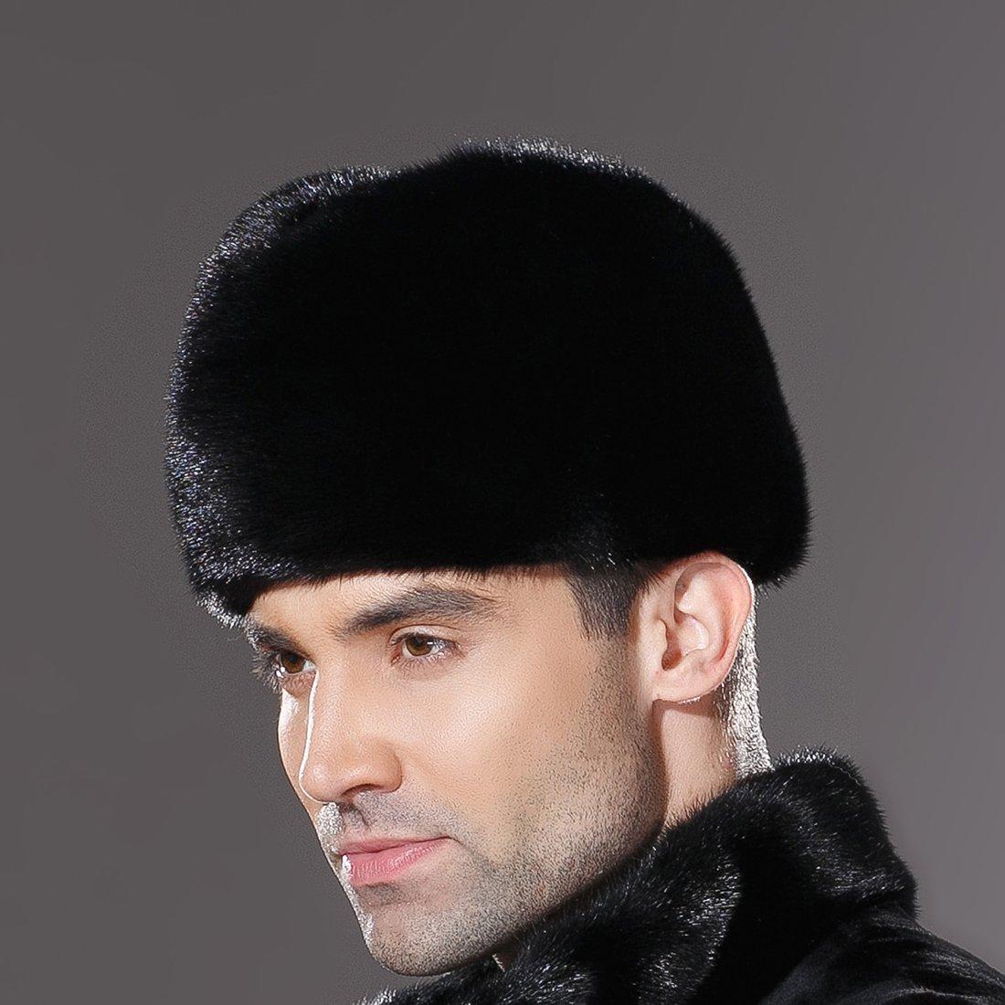 URSFUR Mens Winter Russian Cossack Hat Real Mink Fur Cap Black by URSFUR (Image #7)