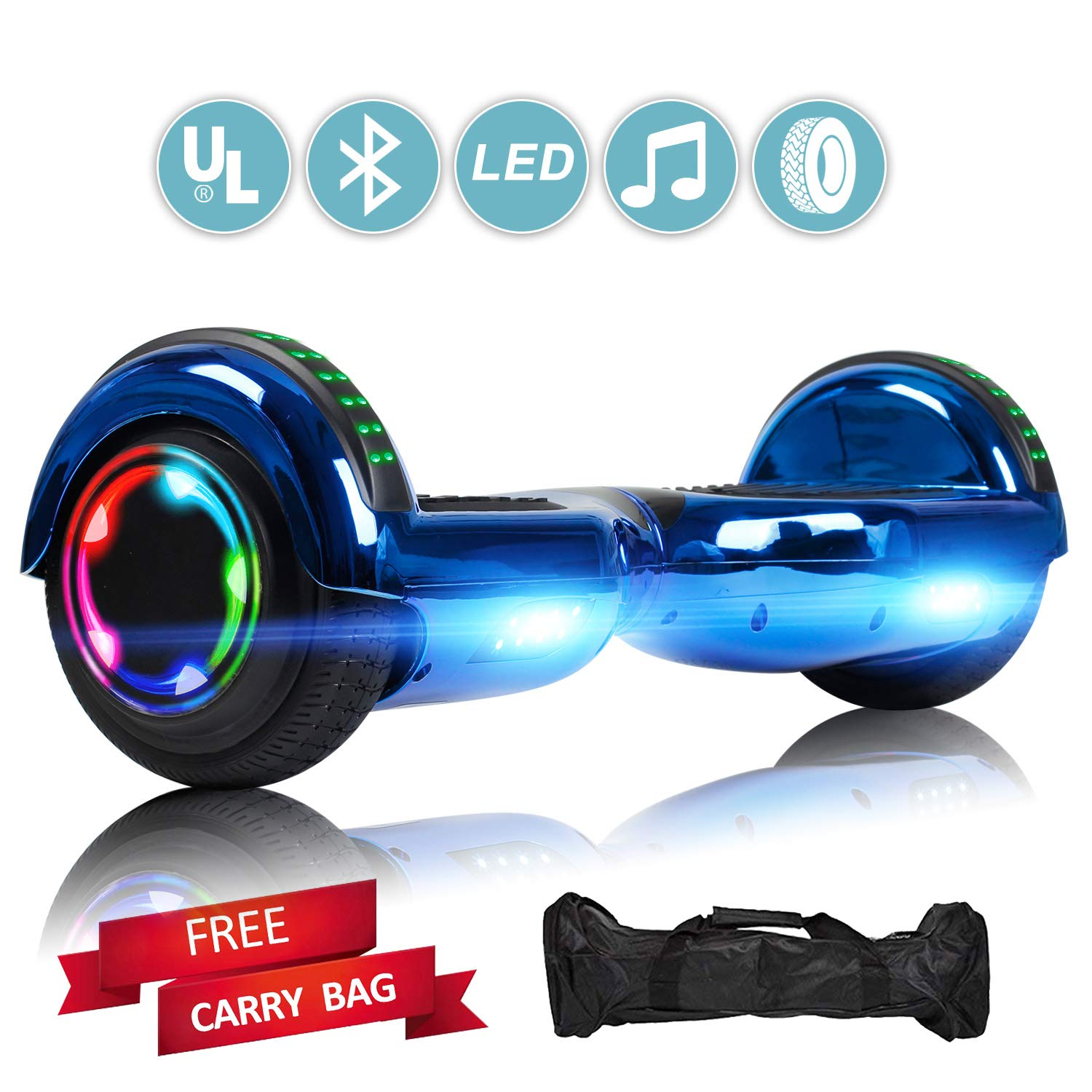 Sea Eagle Hoverboard with Bluetooth Self Balancing Scooter Hover Board for Kids Adults with UL2272 Certified, Wheels LED Lights(Chrome Blue) by Sea Eagle